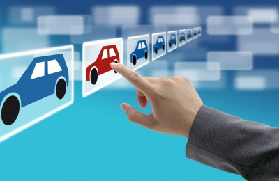 man hand select new car from electronic showroom for e-commerce concept